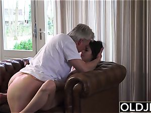 elderly and youthful porn - sitter vulva nailed by older dude