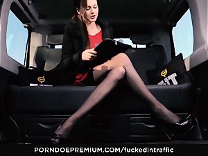 smashed IN TRAFFIC - Footjob and car sex with Tina Kay