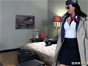 dirty air hostess Lezley Zen makes sure the customer is sated