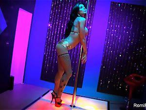 Romi Rain gets mischievous on the stripper pillar