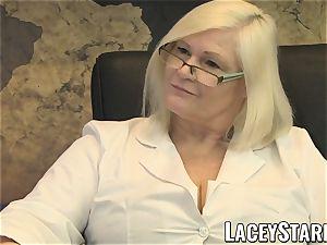 LACEYSTARR - GILF licks Pascal milky cum after bang-out