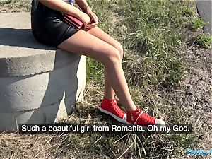 Public Agent edible smoothly-shaven Romanian coochie gets creampied