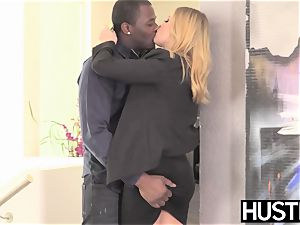 Facialized babe Britney Amber harsh riding swollen big black cock