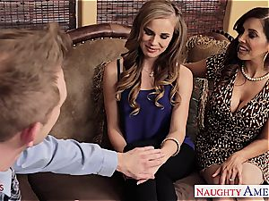 Jillian and Francesca share his thick knob in their crevasses