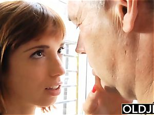 Teenie nails older fellow teenager blow-job guzzles spunk