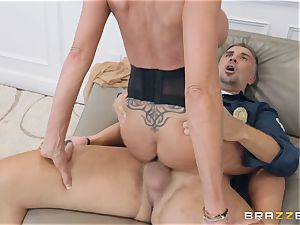 Emma Starr taking it rigid from Keiran Lee