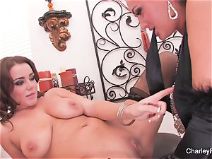 Charley and Natasha have fun with a double fake penis