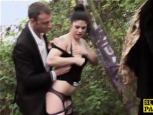 Outdoor facefucked brit subjugated cum-guzzling