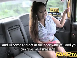 fake taxi Thai masseuse with huge funbags works her magic