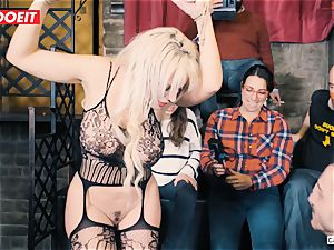 big-chested ash-blonde gets gonzo screwing in restrain bondage party