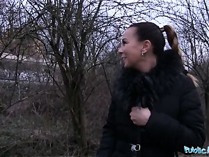 Public Agent Alicia nasty shows her funbags and romps