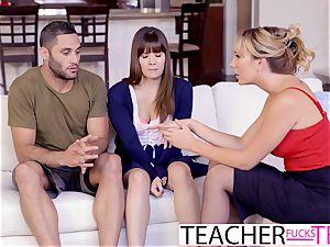 hot teacher Tricks schoolgirls Into threesome pummel
