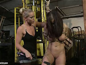Kathia Nobili spanking the bootie of hot girl with whip