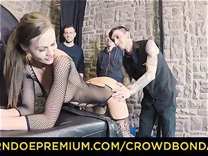 CROWD restrain bondage - extraordinary bdsm drill wheel with Tina Kay