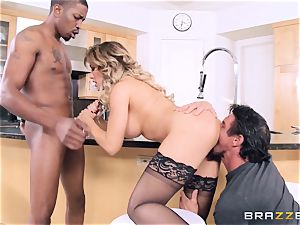 Capri Cavanni bangs her man and his acquaintance