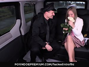 nailed IN TRAFFIC - jizm on arse for ultra-kinky slim blonde