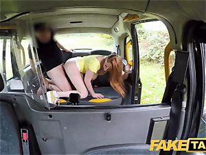 fake cab wild redhead ultra-cutie in filthy nail