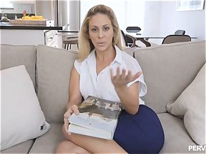 cougar Cherie Deville nearly caught by spouse fucking stepson