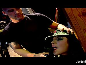 Army penetrating with huge-titted brown-haired Jayden Jaymes