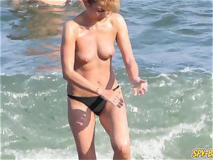 super-steamy bra-less first-timer milfs voyeur Close-up Beach flicks