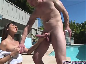 Step mommy tongues companion chief s daughters-in-law pussy Nina North penetrates The Pool stud