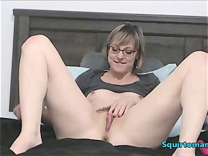 Mature female with Glasses and brief Hair blasting