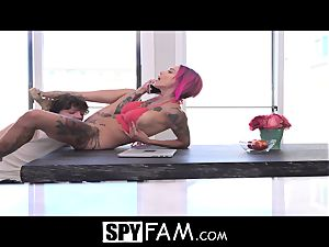 SpyFam Stepmom Anna Bell Peaks rectal shag by stepson