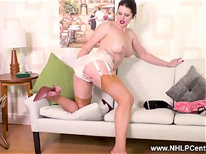 kinky mummy drills faux-cock toy in garter nylons suspenders