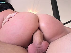 huge-boobed Sophie Dee using her mammories at the maximum level