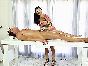Jasmine Jae plowing on the masturbating table