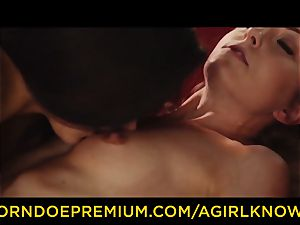 A lady KNOWS - Susy Gala boinks hot g/g with belt dick