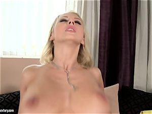 Mandy Dee likes unload of large cum mayo right on her udders