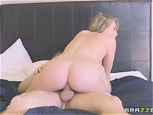platinum-blonde girl/girl is well-prepped to experiment and takes male's manstick