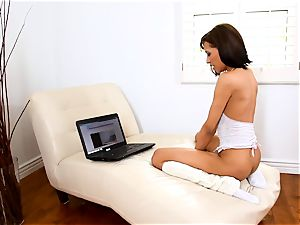 Courtney Page drains as she sees her laptop