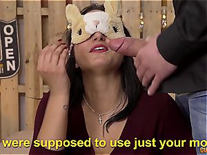 giant bum Spanish stunner Clauda gets pounded by two huge studs
