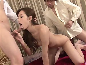 amazing 3some to tear up both Mei Haruka love fuck holes