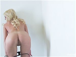ultra-cute platinum-blonde Victoria milky enjoys to knead her honeypot