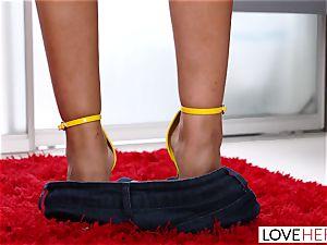 LoveHerFeet - fat fun bags Bridgette Gives a professional FootJob