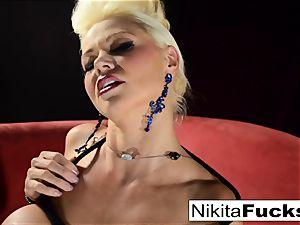 Russian cougar Nikita does bondage solo with a vibro