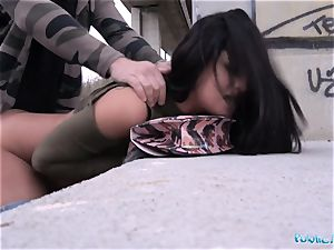 Public Agent Outdoor climaxes for Serbian sweetheart