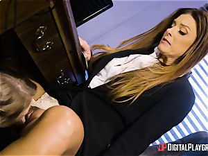 India Summers and Sunny Lane poon scissoring action in the office