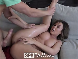 SpyFam Step sister curious about step brother pipe