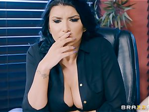 insane dark haired milf Romi Rain wedged in the caboose in the office