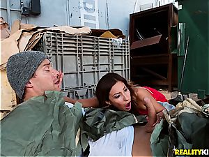 Jade Jantzen drilling a hobo with her spouse nearby
