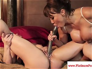 Ava Devine and Brandi May play with their lezzie playthings